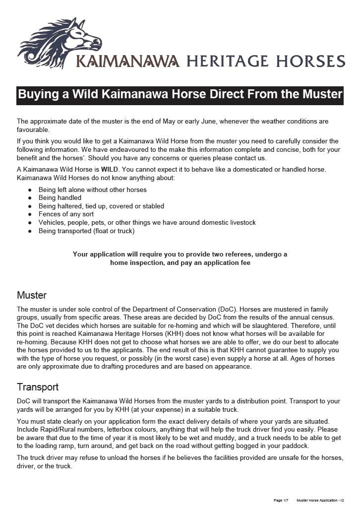 2016 Muster – Kaimanawa Heritage Horses